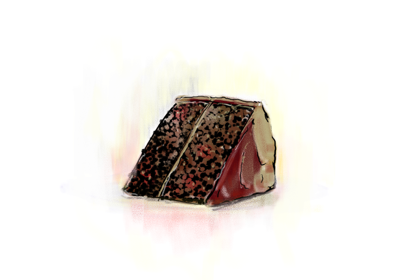 A drawing of a slice of german chocolate cake