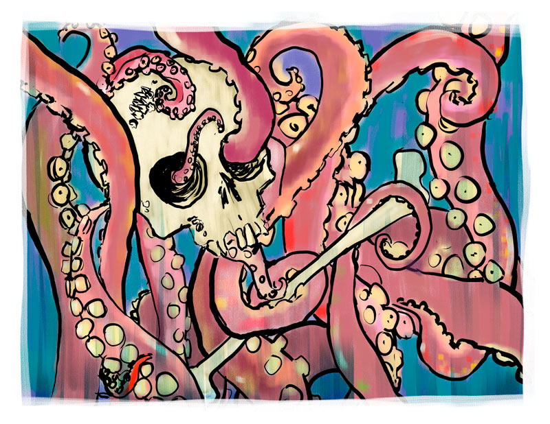 skull and tentacles