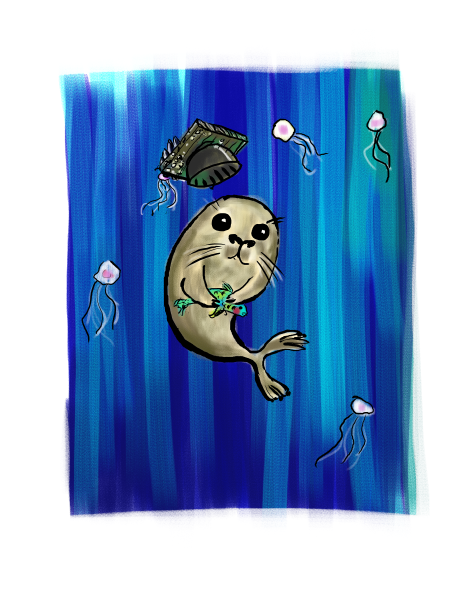 seal in a mortarboard